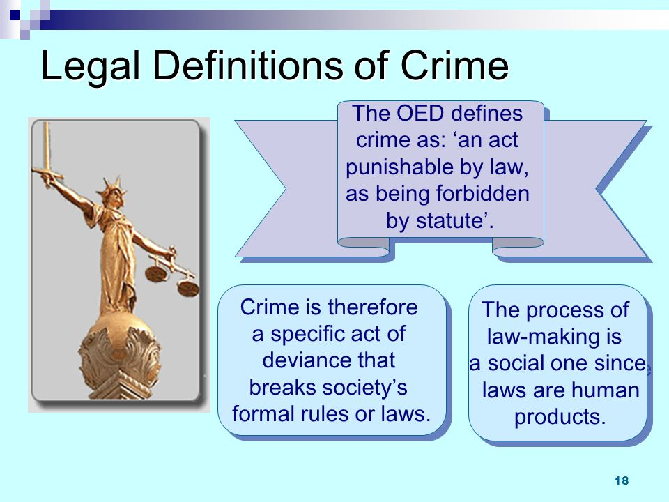 how society defines crime Crime is behaviour thatbreaks the formal written laws of a society if someonecommits a crime they can be arrested, charged and prosecuted actions can be.