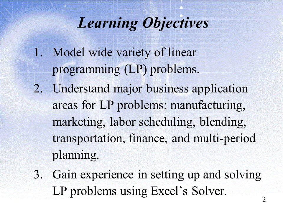 linear programming blending Computer solutions of linear programs b29 using linear programming models for decision  the variable cost of blending and packing the dog food is $025.