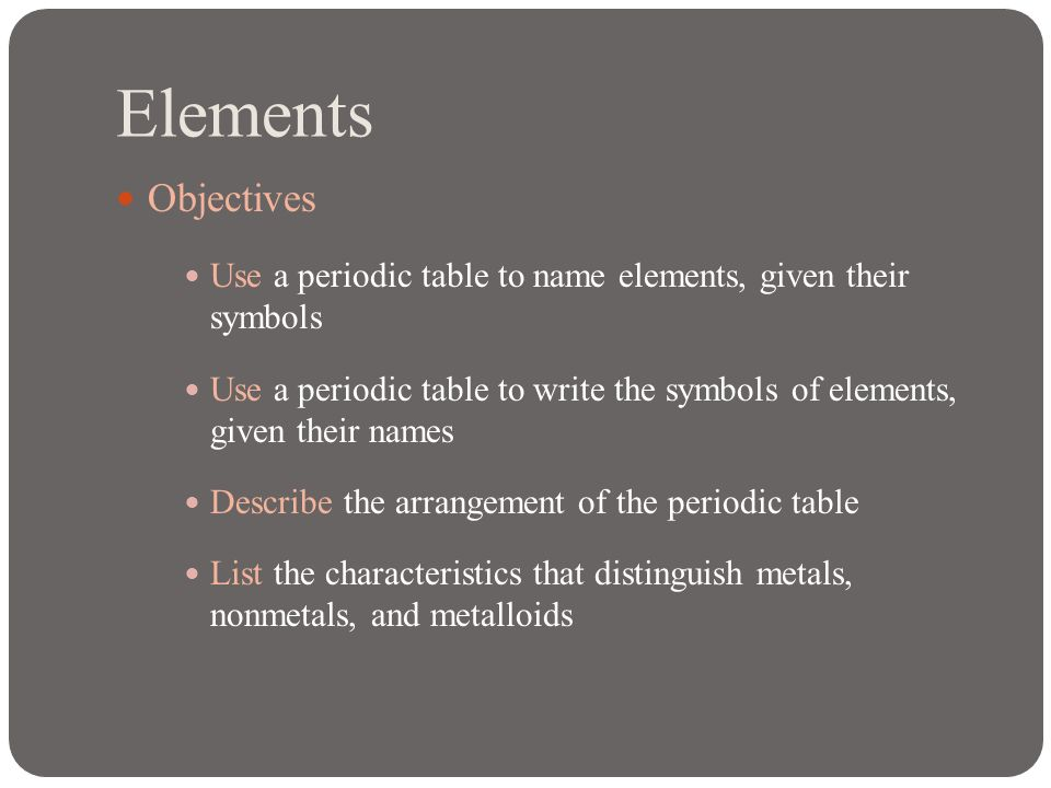 Elements ppt download 2 elements objectives use a periodic table urtaz Image collections