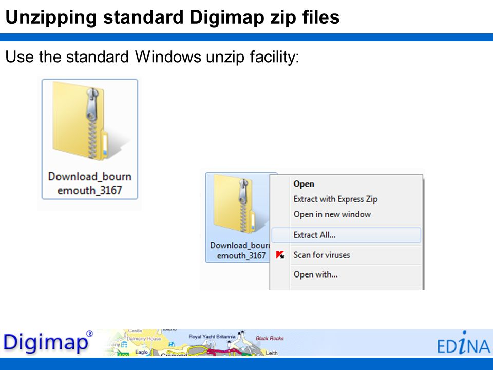 Unzipping standard Digimap zip files