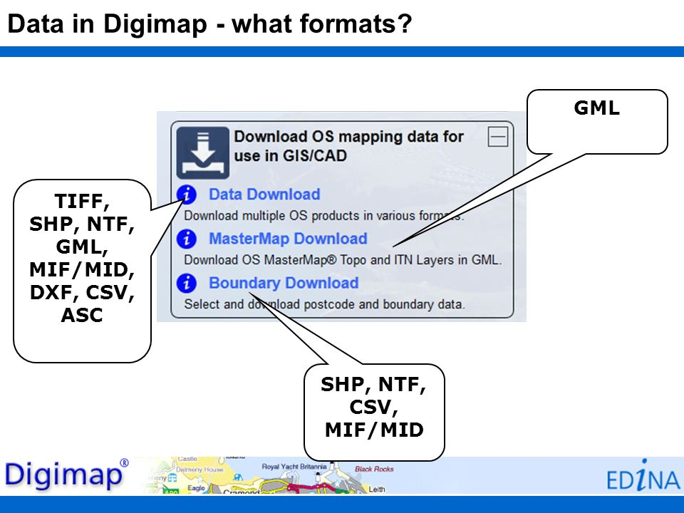 Data in Digimap - what formats