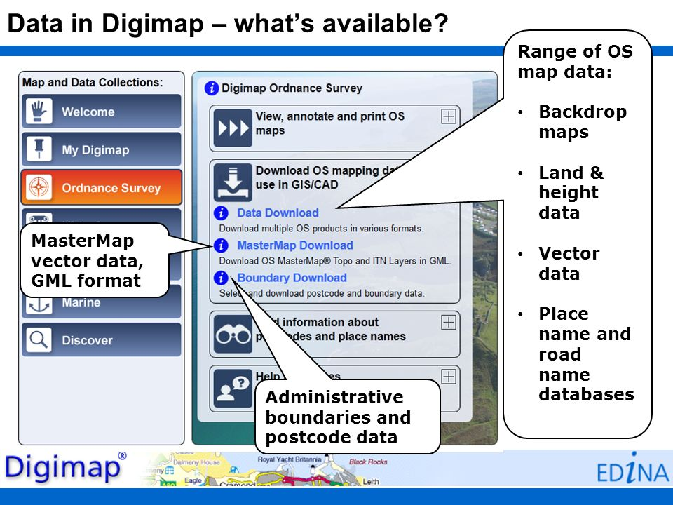 Data in Digimap – what's available