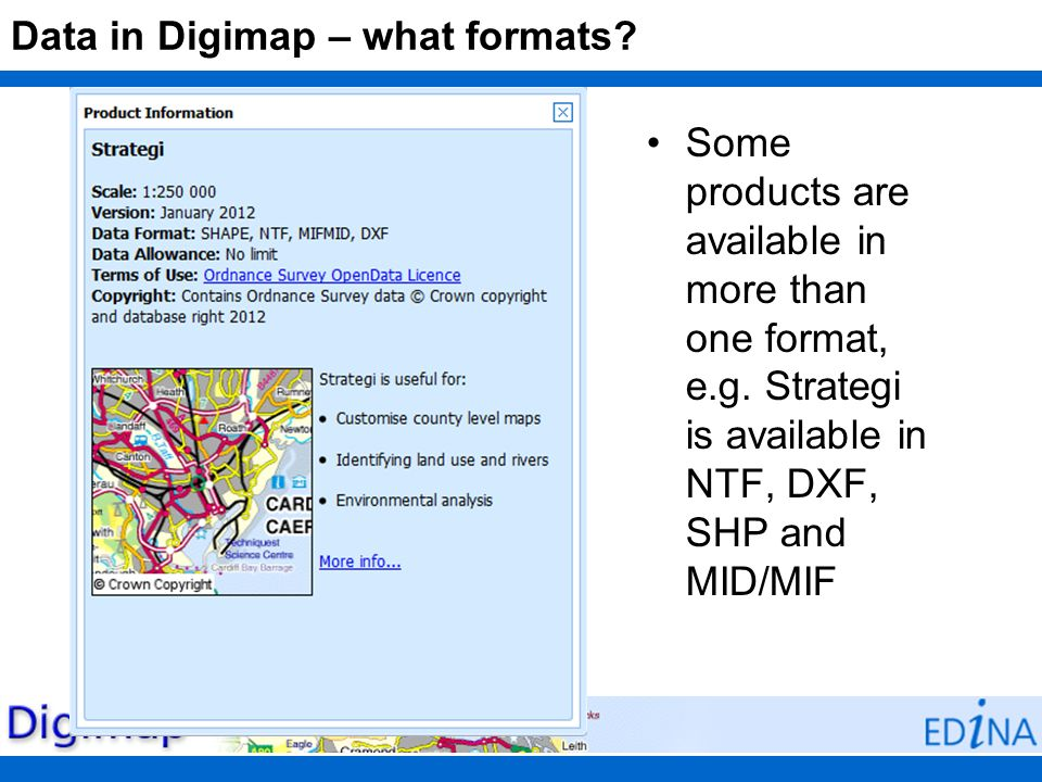 Data in Digimap – what formats