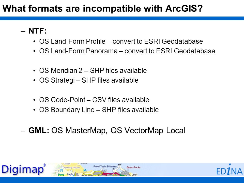 What formats are incompatible with ArcGIS