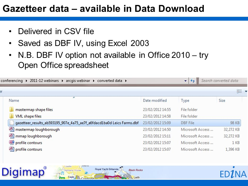 Gazetteer data – available in Data Download