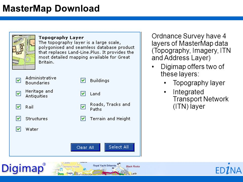 MasterMap Download Ordnance Survey have 4 layers of MasterMap data (Topography, Imagery, ITN and Address Layer)