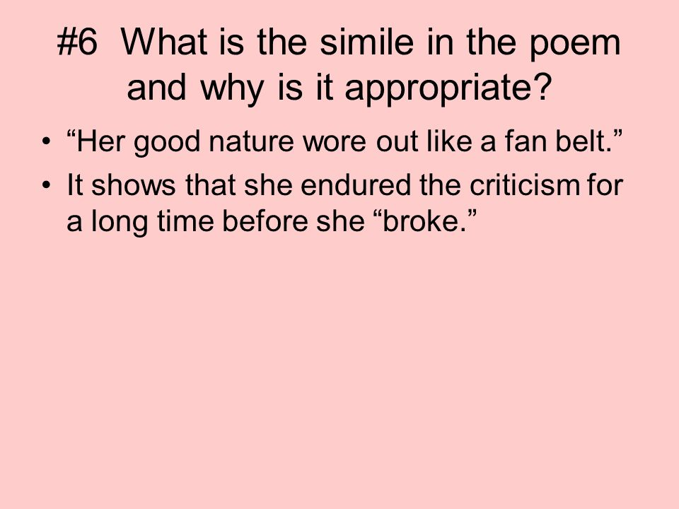"barbie doll"" by marge piercy ppt video online   6 what is the simile in the poem and why is it appropriate"