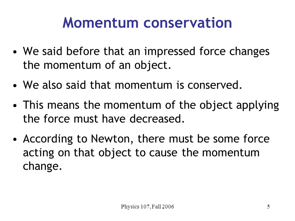 how to teach law of conservation of momentum