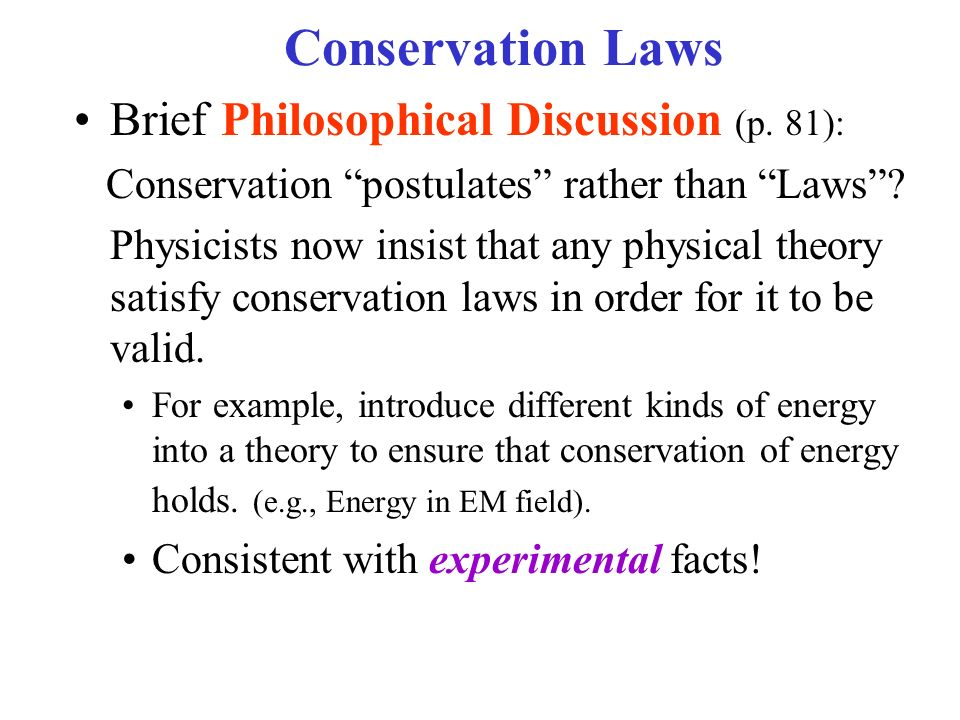 Conservation theorems sect ppt video online download for Facts about energy conservation