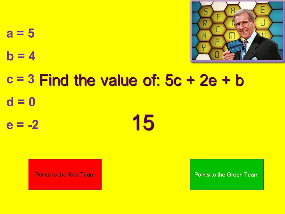 Find the value of: 5c + 2e + b