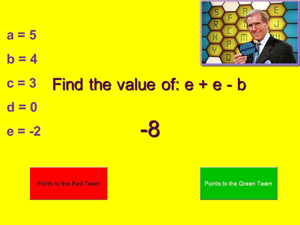 Find the value of: e + e - b