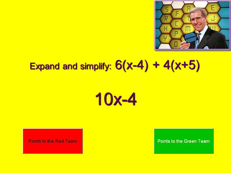 Expand and simplify: 6(x-4) + 4(x+5)