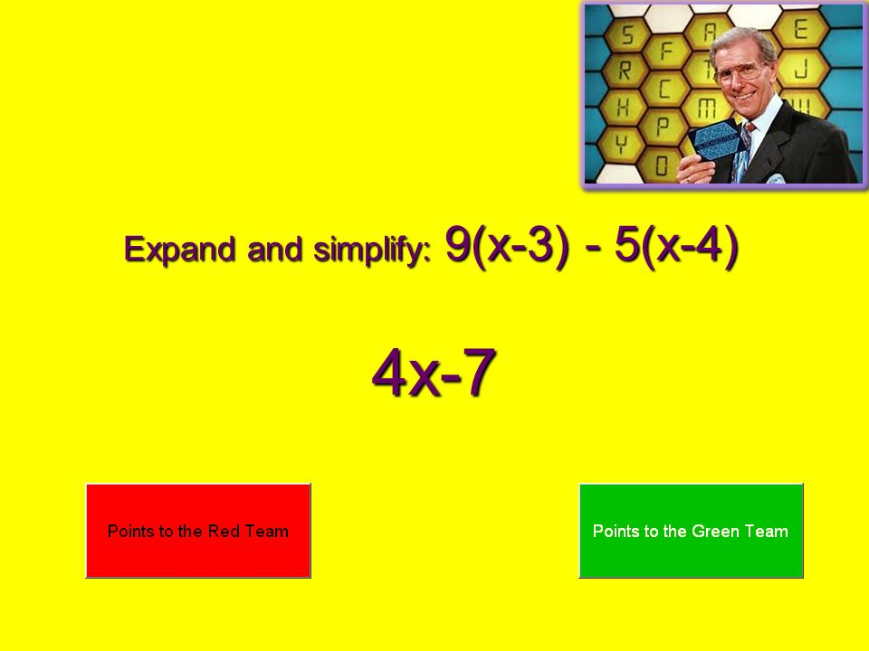 Expand and simplify: 9(x-3) - 5(x-4)