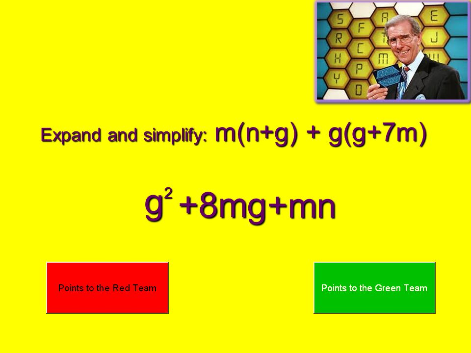 Expand and simplify: m(n+g) + g(g+7m)