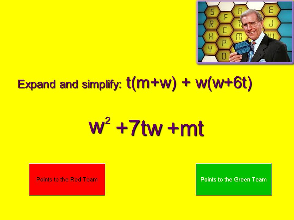 Expand and simplify: t(m+w) + w(w+6t)