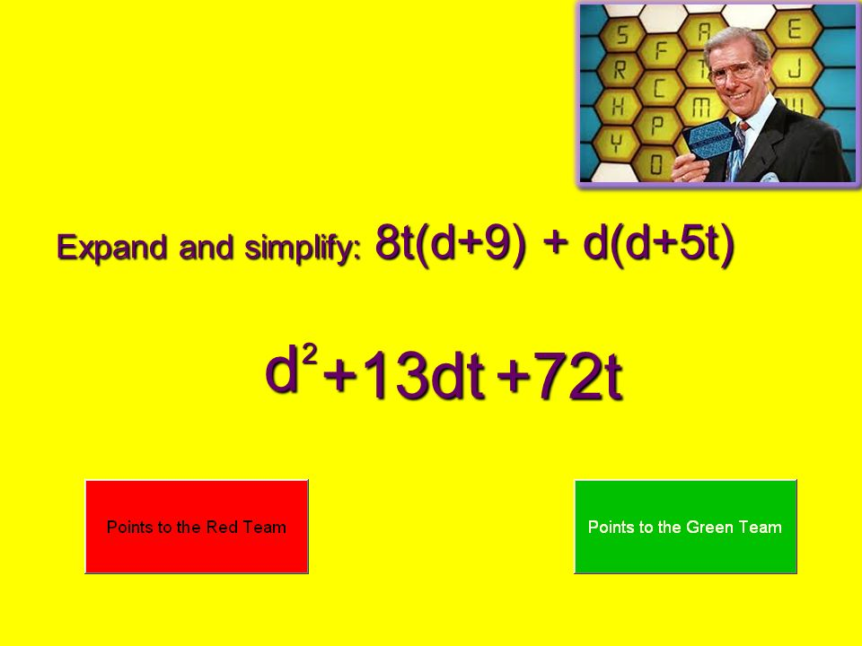 Expand and simplify: 8t(d+9) + d(d+5t)
