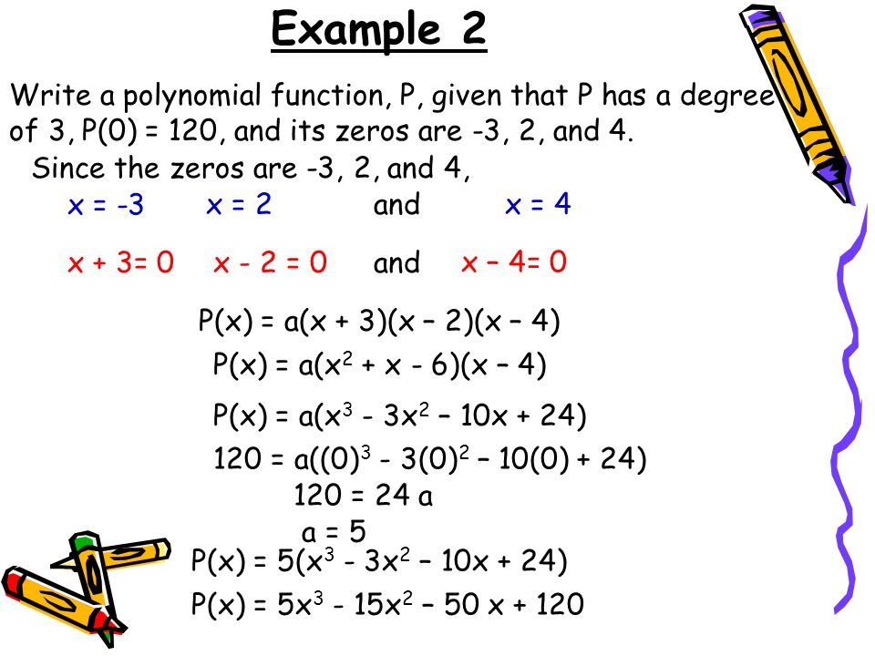 how to find a polynomial given the zeros and degree