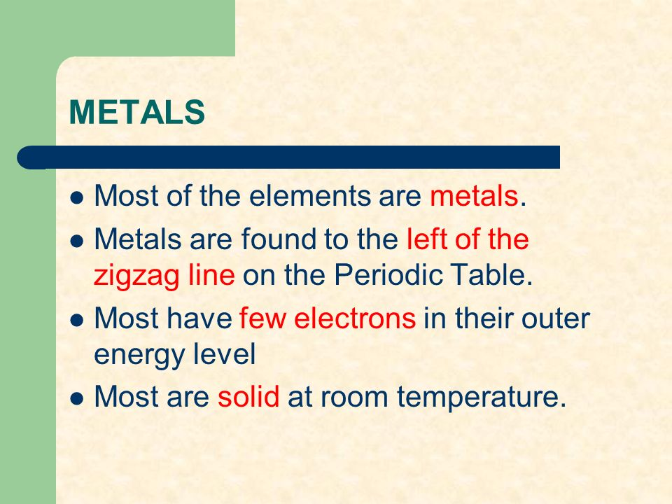 Chapter 12 the periodic table ppt video online download 7 metals urtaz Choice Image
