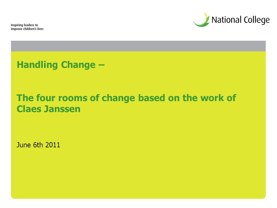 Handling Change – The four rooms of change based on the work of Claes Janssen