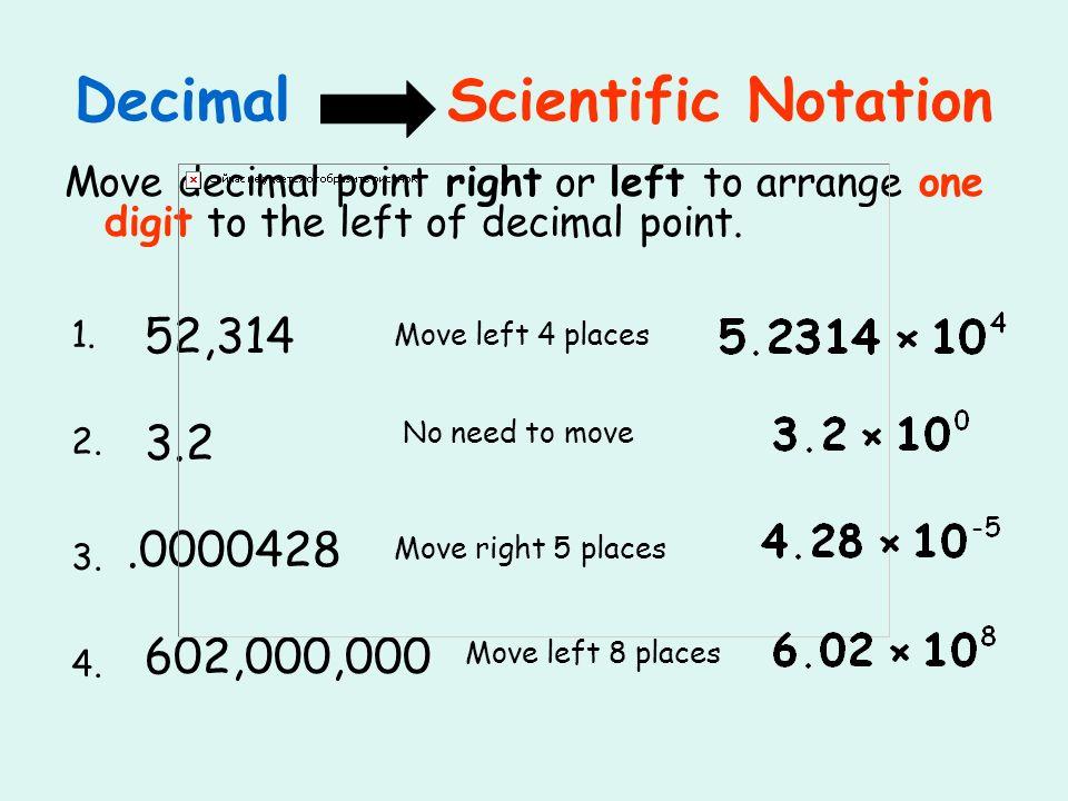 Decimal Scientific Notation