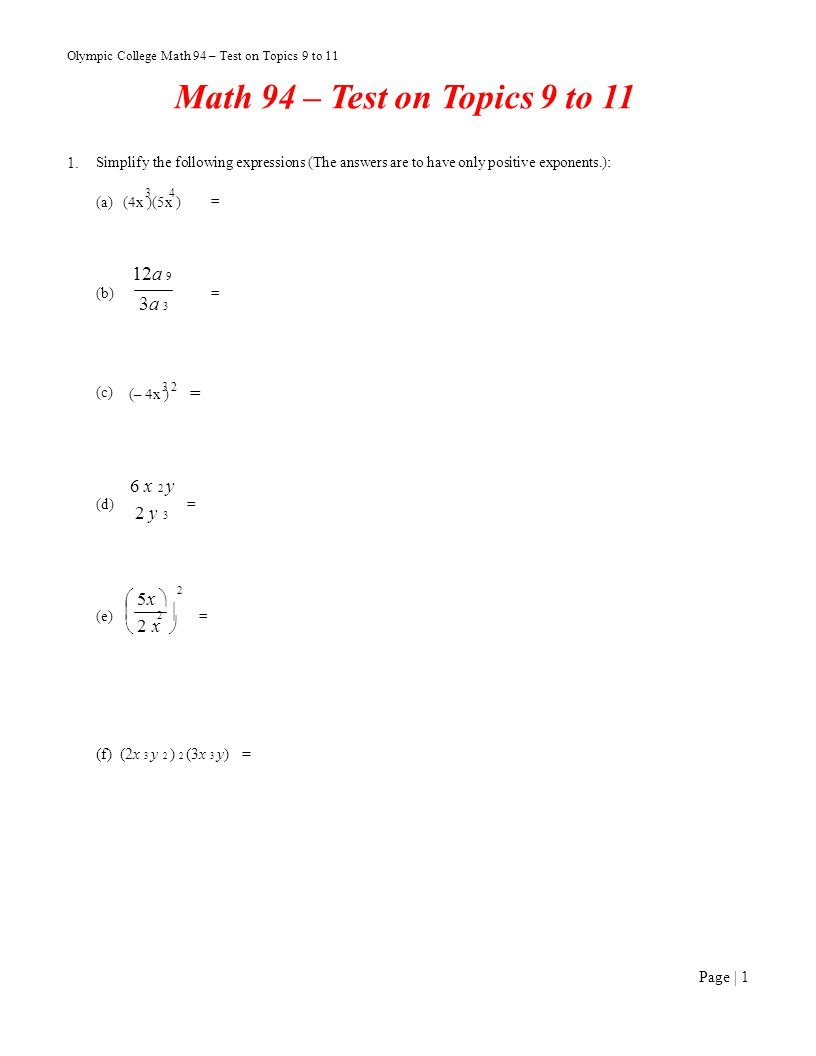 Olympic College Math 94 – Test on Topics 9 to ppt download