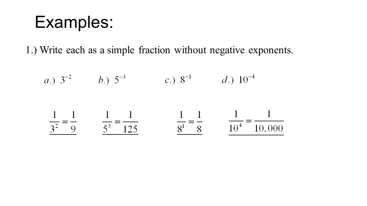 Write Each As A Simple Fraction Without Negative Exponents Simplifying  Variables And Negative Exponents