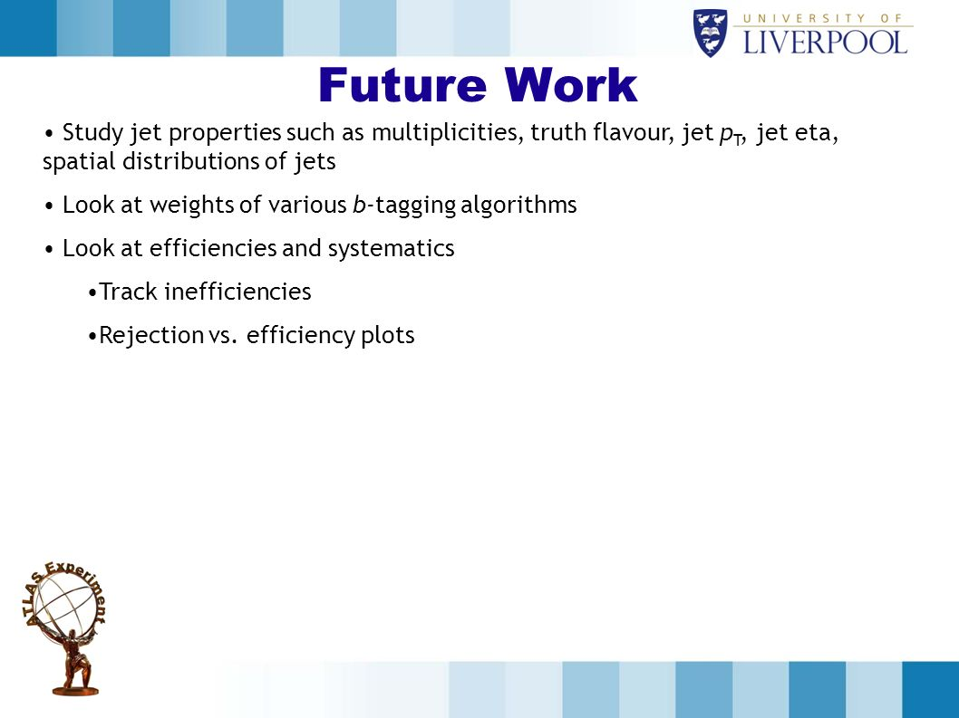 Future Work Study jet properties such as multiplicities, truth flavour, jet pT, jet eta, spatial distributions of jets.