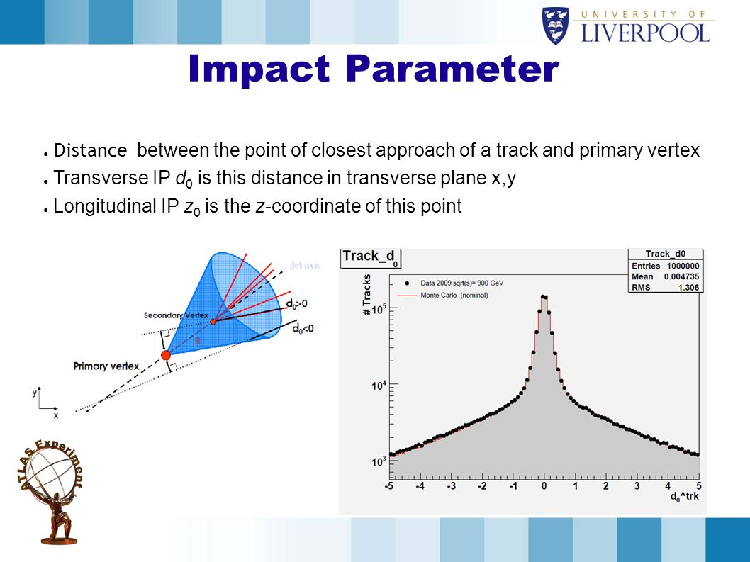 Impact Parameter Distance between the point of closest approach of a track and primary vertex.