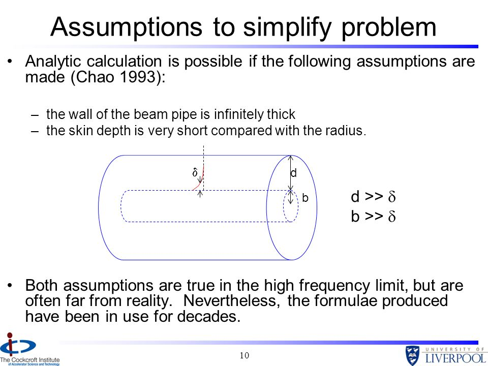 Assumptions to simplify problem