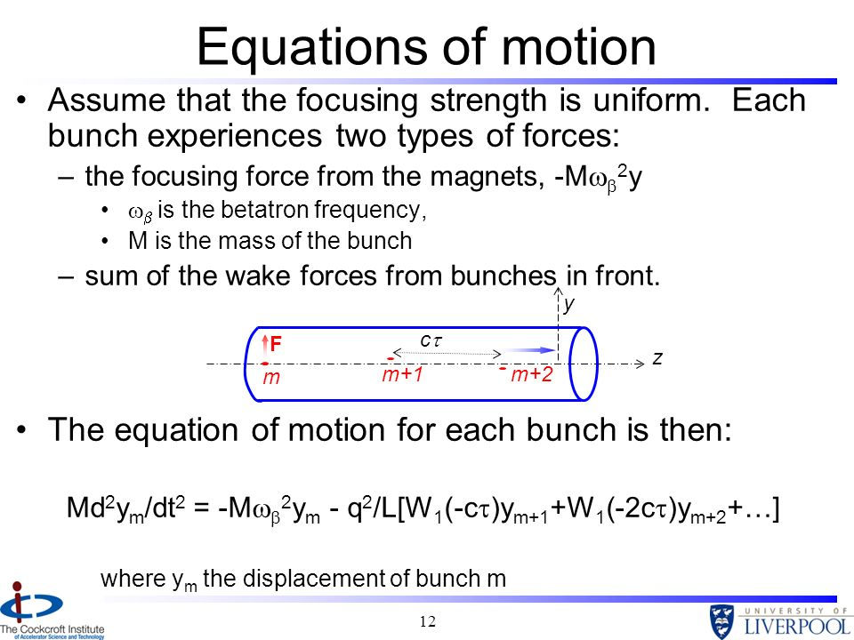 Equations of motion Assume that the focusing strength is uniform. Each bunch experiences two types of forces: