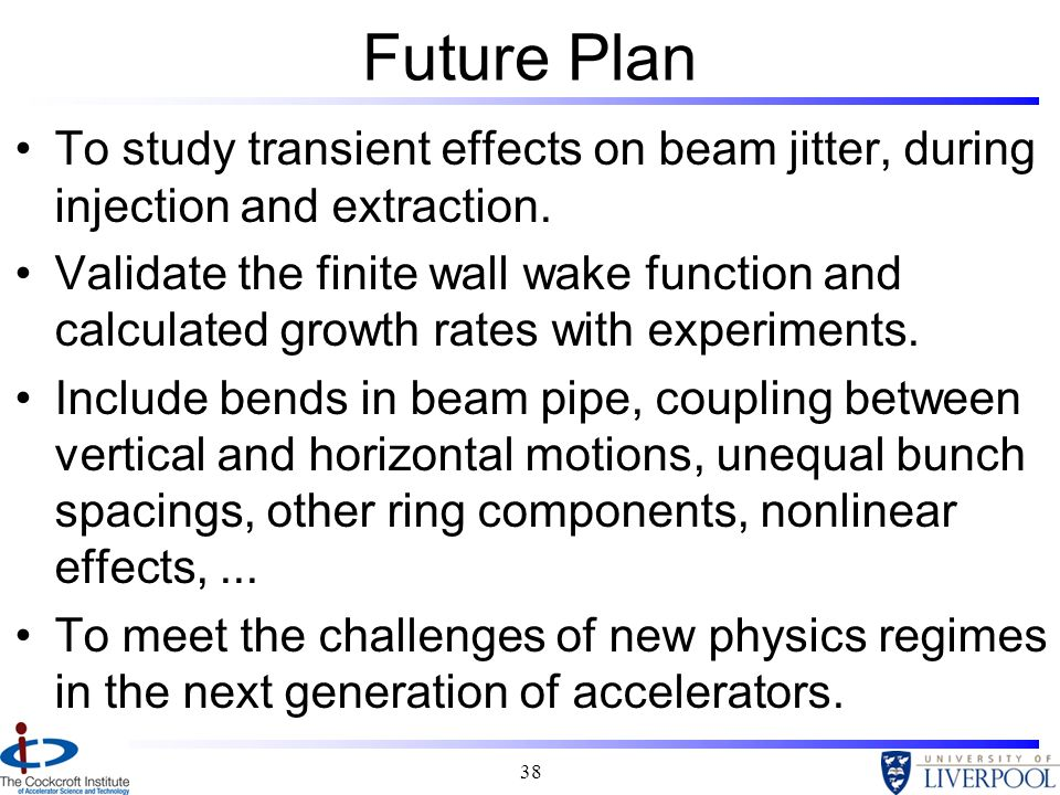 Future Plan To study transient effects on beam jitter, during injection and extraction.