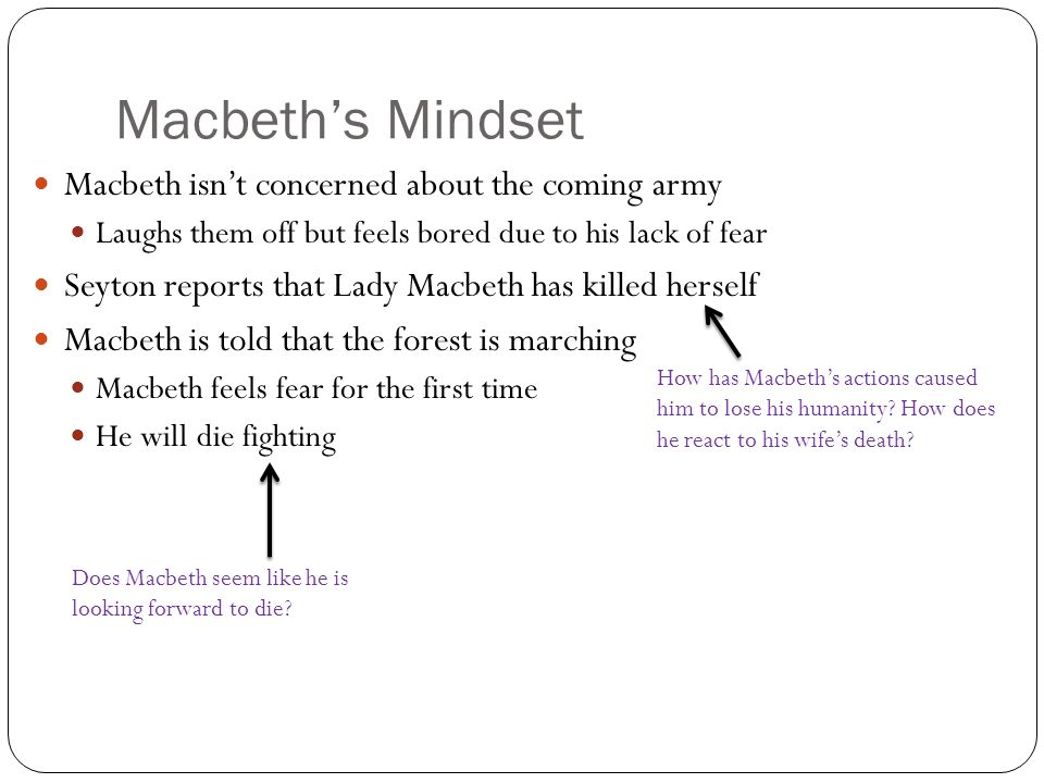 does macbeth convey humanity Macbeth - character changes,  macbeth is a little  she thinks of performing the act herself but shows a sign of humanity and doesn't because it resembles.