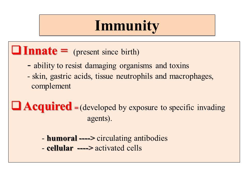 Immunity Innate = (present since birth)