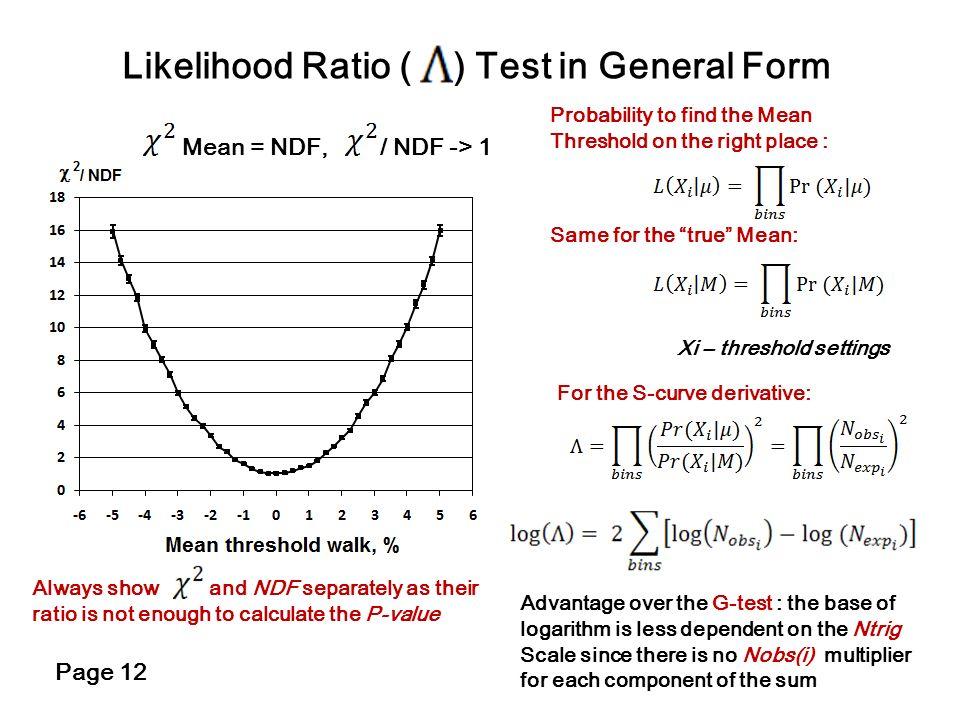 Likelihood Ratio ( ) Test in General Form