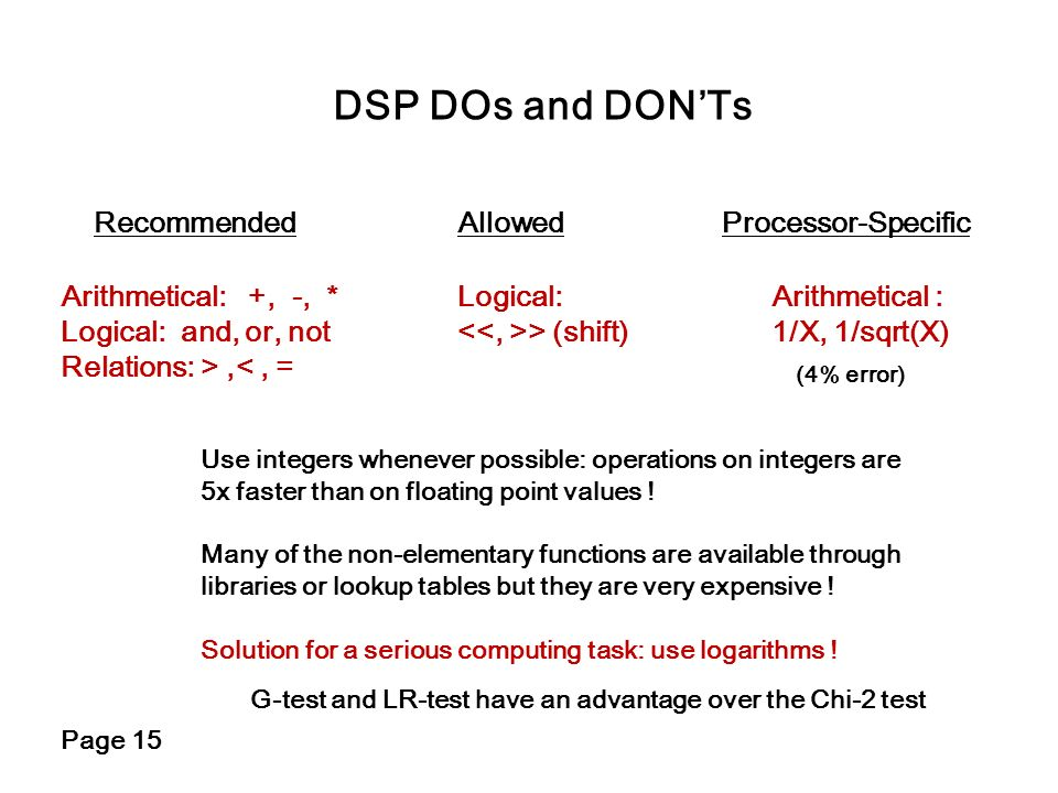 DSP DOs and DON'Ts Recommended Allowed Processor-Specific