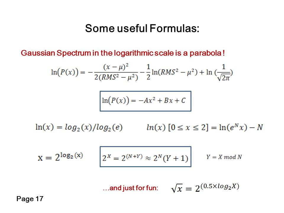 Some useful Formulas:Gaussian Spectrum in the logarithmic scale is a parabola ! ...and just for fun: