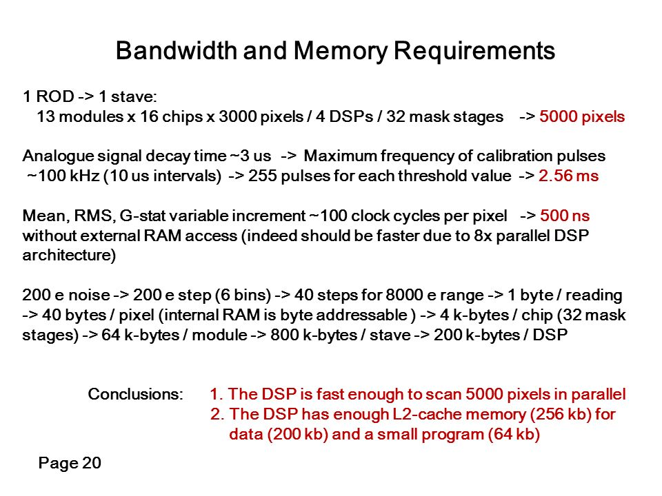 Bandwidth and Memory Requirements