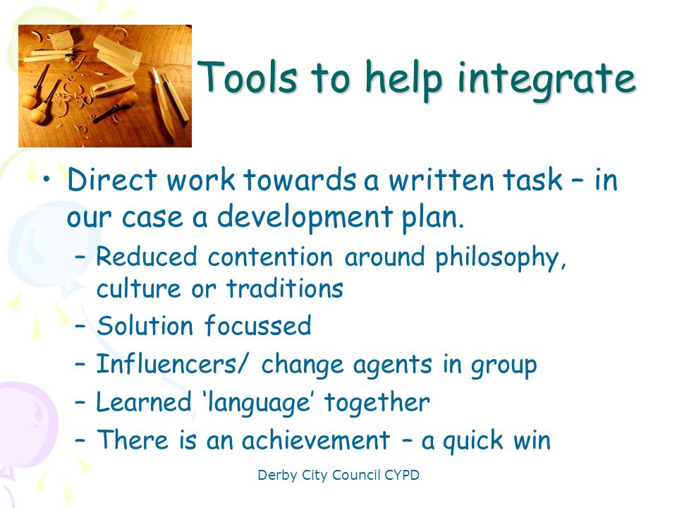 Tools to help integrate