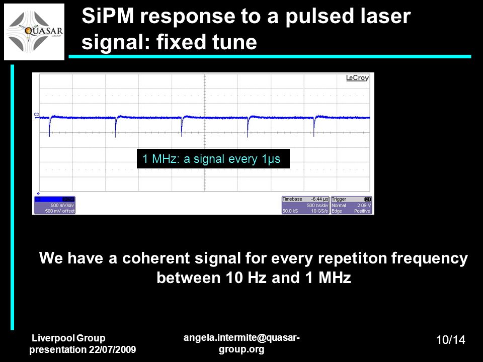 SiPM response to a pulsed laser signal: fixed tune