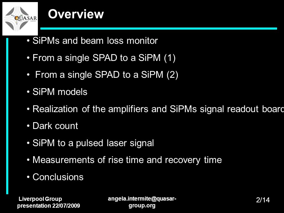 Overview SiPMs and beam loss monitor From a single SPAD to a SiPM (1)
