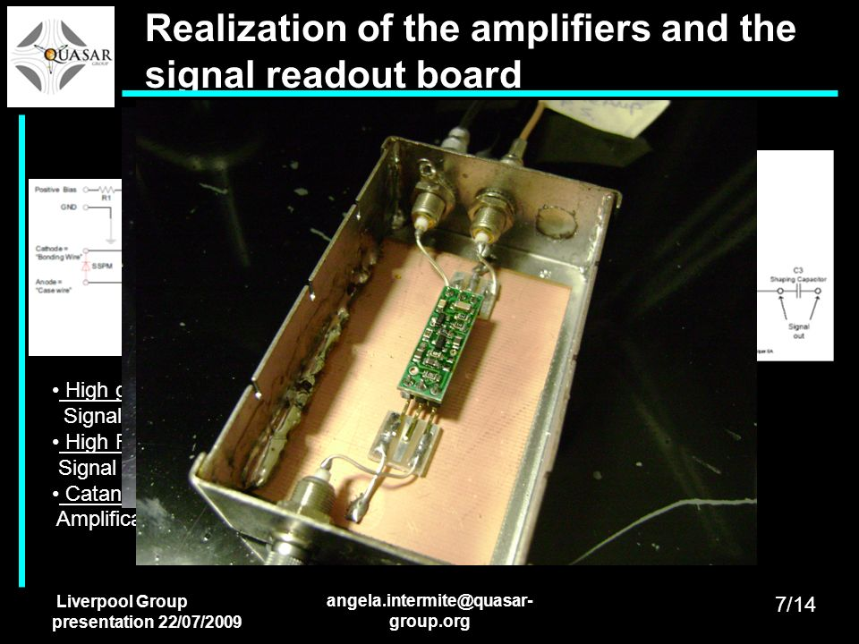 Realization of the amplifiers and the signal readout board