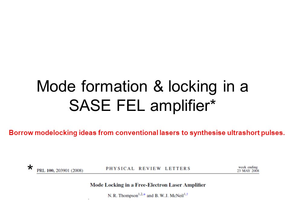 Mode formation & locking in a SASE FEL amplifier*