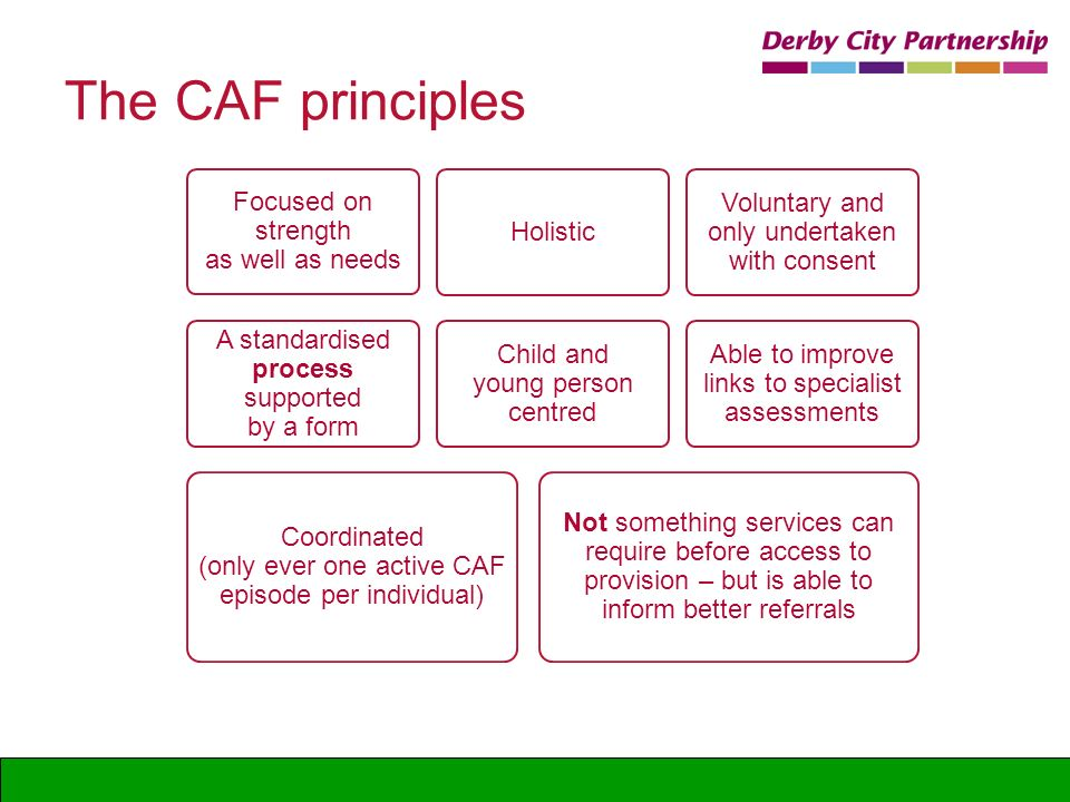 The CAF principles Focused on strength as well as needs Holistic