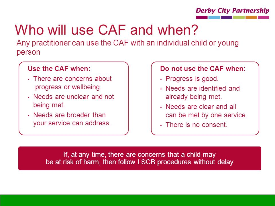 Who will use CAF and when