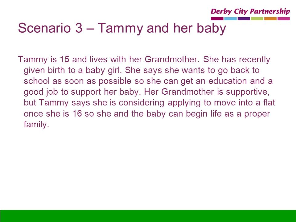 Scenario 3 – Tammy and her baby