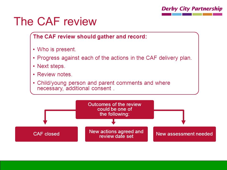 The CAF review The CAF review should gather and record: