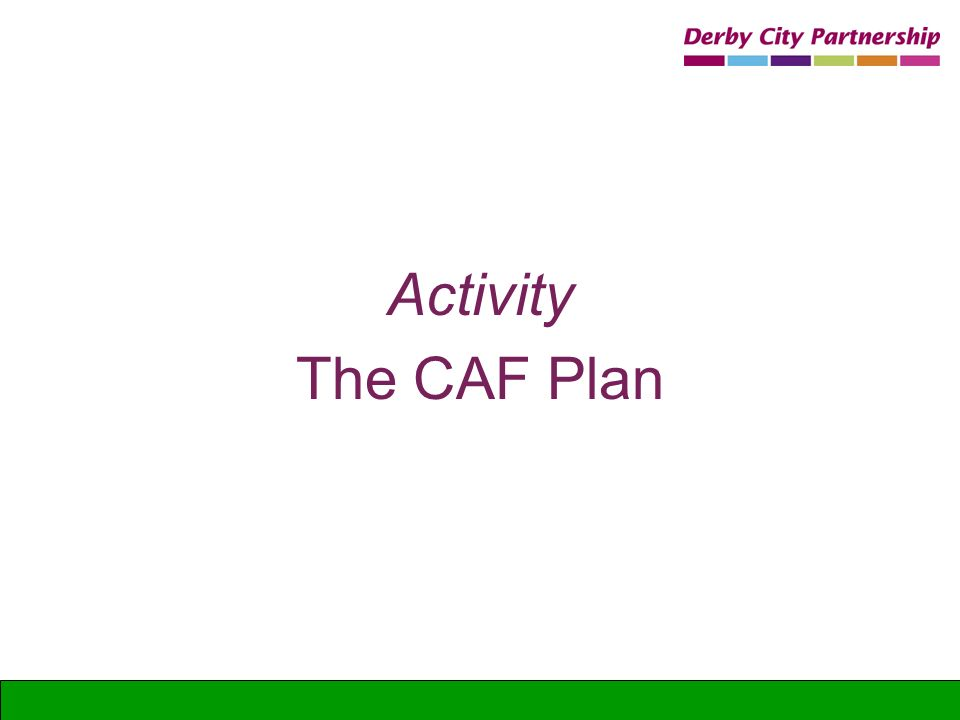 Activity The CAF Plan Doing a CAF delivery plan and review
