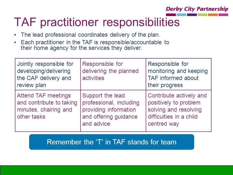 TAF practitioner responsibilities