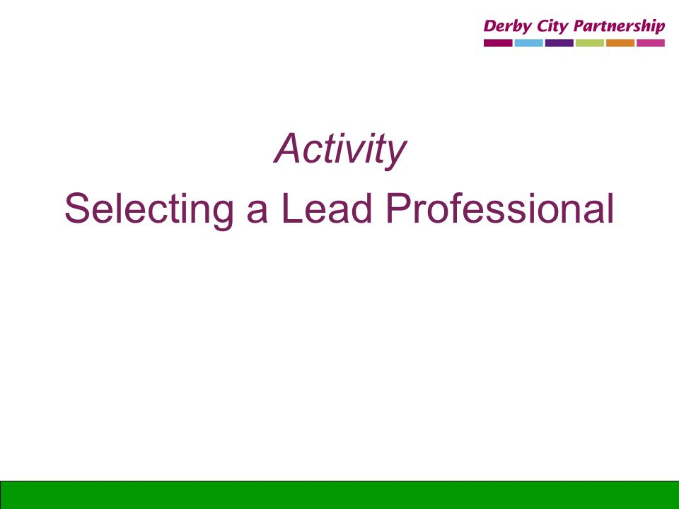 Selecting a Lead Professional