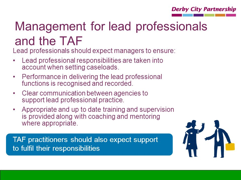 Management for lead professionals and the TAF